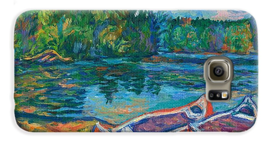 Landscape Galaxy S6 Case featuring the painting Canoes At Mountain Lake Sketch by Kendall Kessler