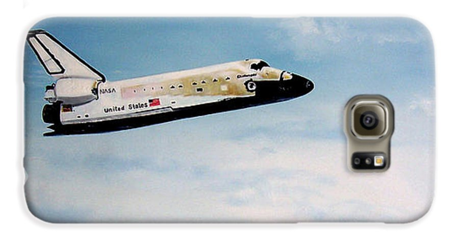 Shuttle Galaxy S6 Case featuring the painting Challenger by Murphy Elliott