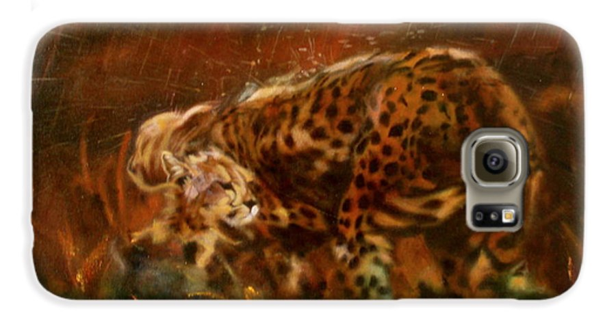 Rain;water;cats;africa;wildlife;animals;mother;shelter;brush;bush Galaxy S6 Case featuring the painting Cheetah Family After The Rains by Sean Connolly