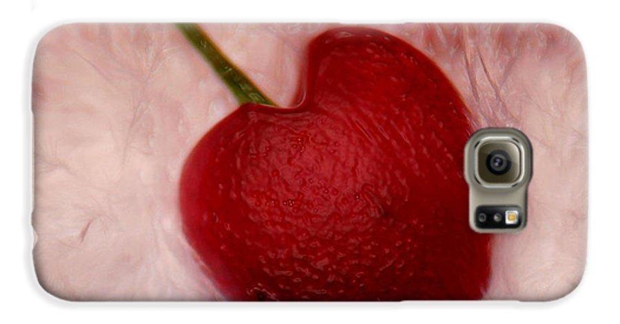 Heart Artred Cherry Heart Galaxy S6 Case featuring the photograph Cherry Heart by Linda Sannuti