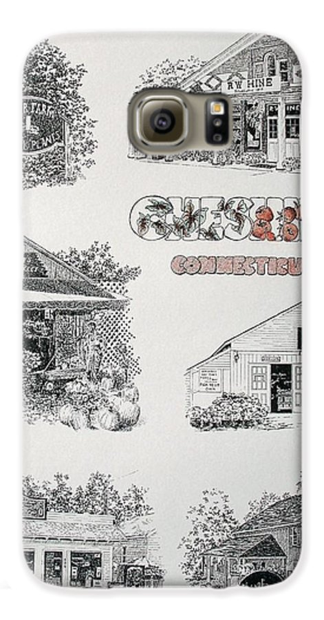Connecticut Chechire Ct Architecture Buildings New England Galaxy S6 Case featuring the painting Cheshire Landmarks by Tony Ruggiero