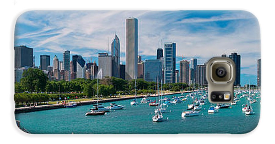 3scape Galaxy S6 Case featuring the photograph Chicago Skyline Daytime Panoramic by Adam Romanowicz