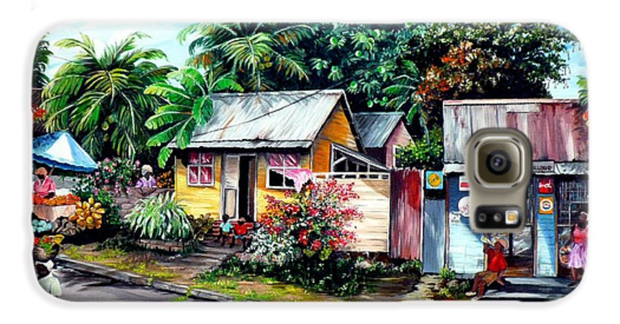 Landscape Painting Caribbean Painting Shop Trinidad Tobago Poinciana Painting Market Caribbean Market Painting Tropical Painting Galaxy S6 Case featuring the painting Chins Parlour   by Karin Dawn Kelshall- Best