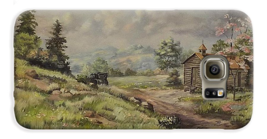 Landscape Galaxy S6 Case featuring the painting Church In The Ozarks by Wanda Dansereau