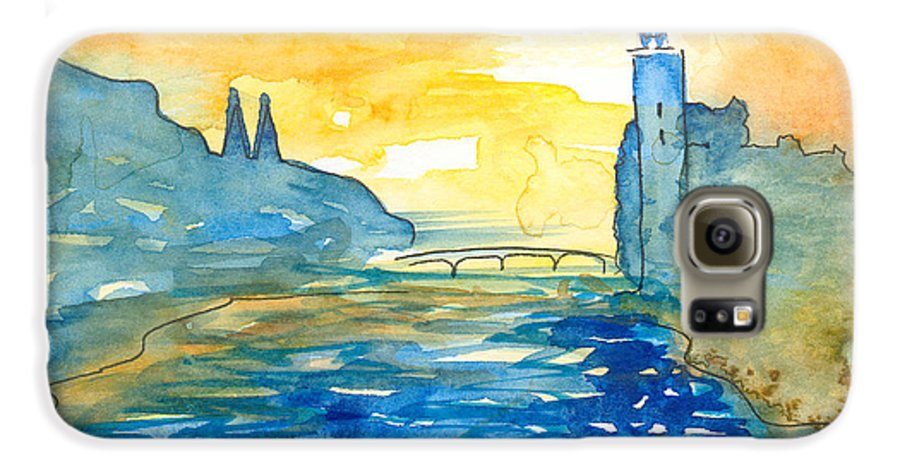 Landscape Galaxy S6 Case featuring the painting City Hall Stockholm by Christina Rahm Galanis