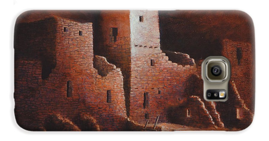 Anasazi Galaxy S6 Case featuring the painting Cliff Palace by Jerry McElroy