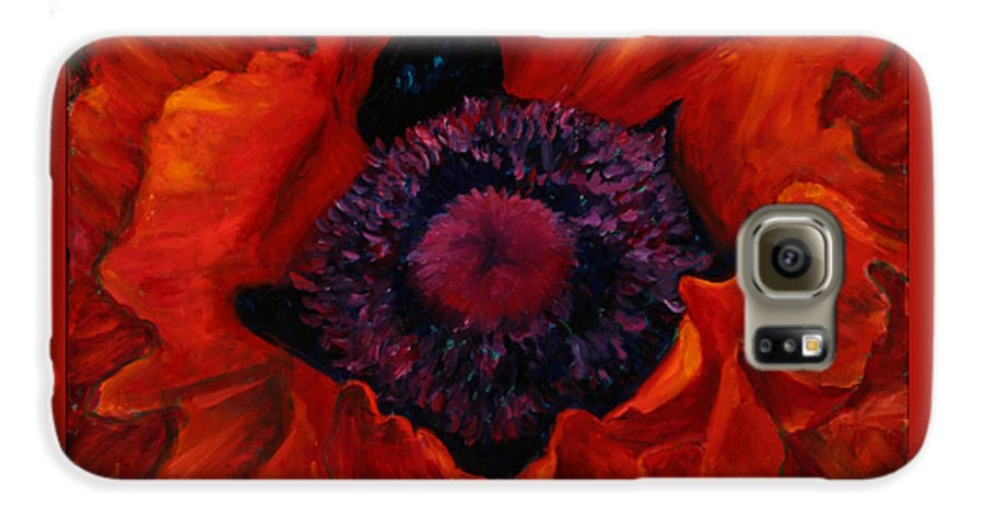 Red Poppy Galaxy S6 Case featuring the painting Close Up Poppy by Billie Colson