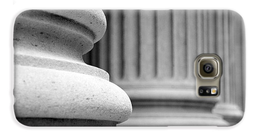 Black & White Galaxy S6 Case featuring the photograph Columns by Tony Cordoza