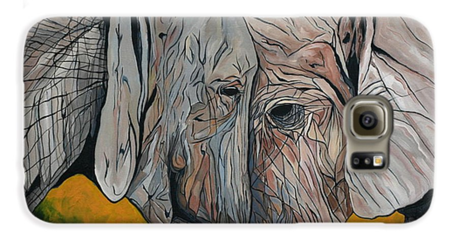 Elephant Galaxy S6 Case featuring the painting Comfort by Aimee Vance