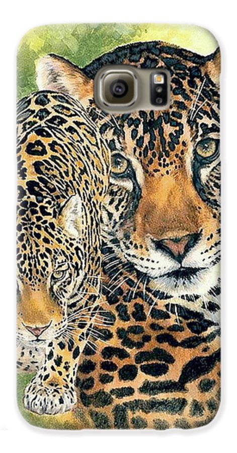 Jaguar Galaxy S6 Case featuring the mixed media Compelling by Barbara Keith
