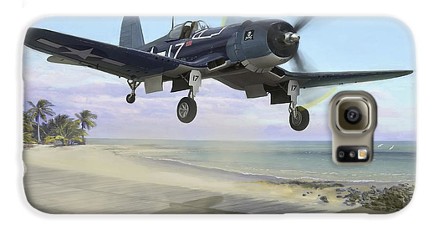 Airplane Galaxy S6 Case featuring the painting Corsair Takeoff Vf-17 Jolly Rogers by Mark Karvon
