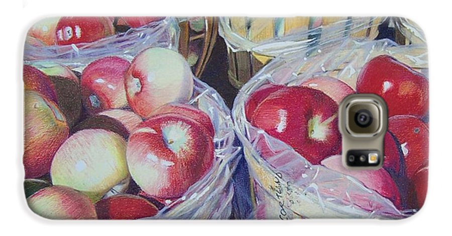 Apple Galaxy S6 Case featuring the mixed media Cortland Apples by Constance Drescher