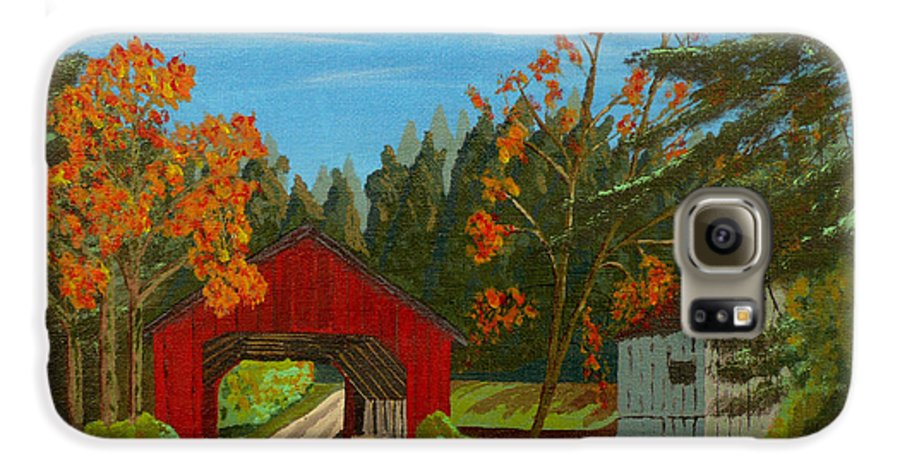 Path Galaxy S6 Case featuring the painting Covered Bridge by Anthony Dunphy