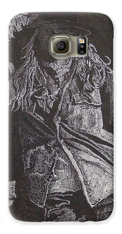 Figurative Galaxy S6 Case featuring the drawing Cowgirl by Denis Gloudeman