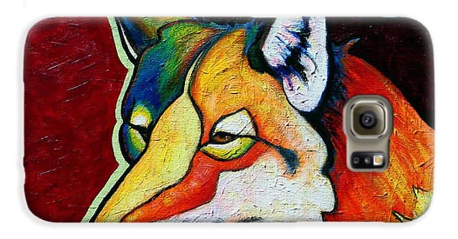 Wildlife Galaxy S6 Case featuring the painting Coyote Portrait by Joe Triano
