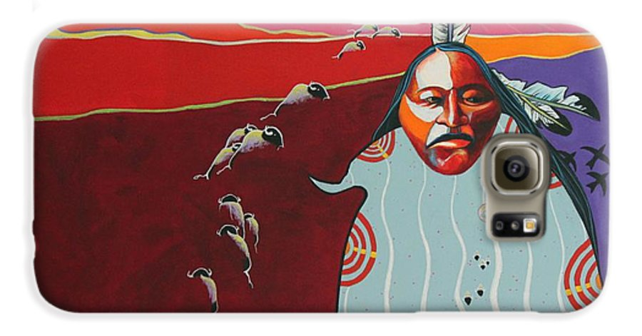 Native American Galaxy S6 Case featuring the painting Creation by Joe Triano
