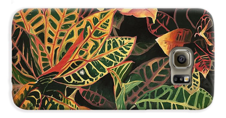 Croton Leaves Galaxy S6 Case featuring the painting Croton Leaves by Judy Swerlick