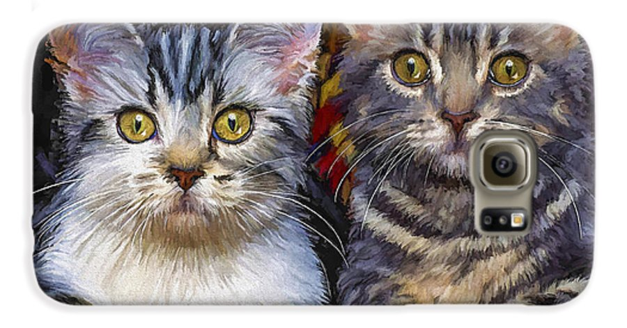 Cat Galaxy S6 Case featuring the painting Curious Kitties by David Wagner