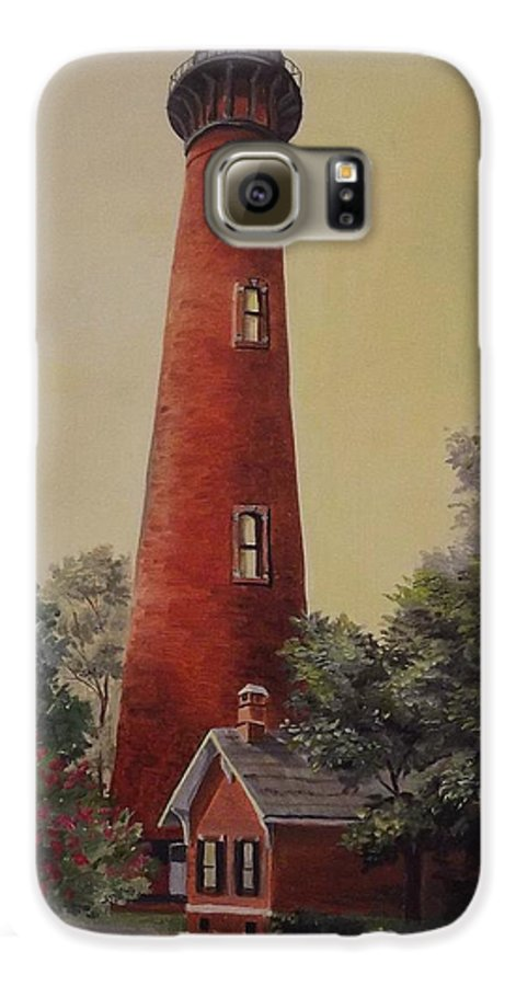 Lighthouse Galaxy S6 Case featuring the painting Currituck Lighthouse by Wanda Dansereau