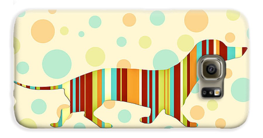 Dog Galaxy S6 Case featuring the digital art Dachshund Fun Colorful Abstract by Natalie Kinnear