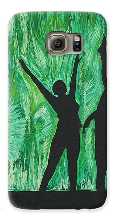 Abstract Galaxy S6 Case featuring the painting Dance by Aimee Vance