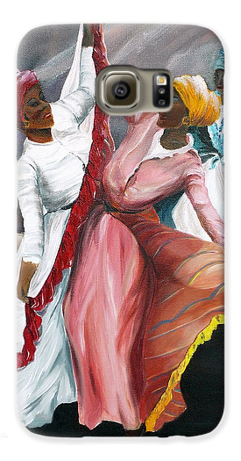 Dancers Folk Caribbean Women Painting Dance Painting Tropical Dance Painting Galaxy S6 Case featuring the painting Dance The Pique 2 by Karin Dawn Kelshall- Best
