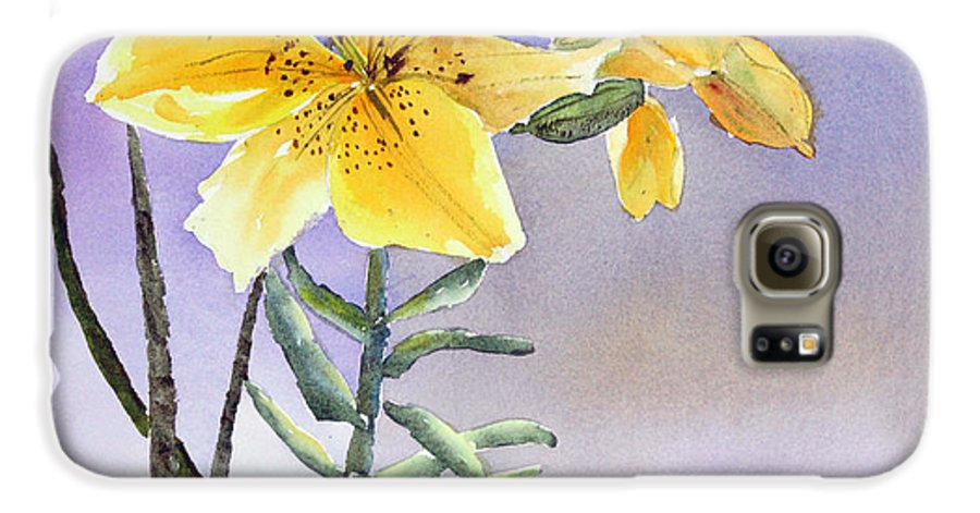 Lily Galaxy S6 Case featuring the painting Daylilies by Patricia Novack