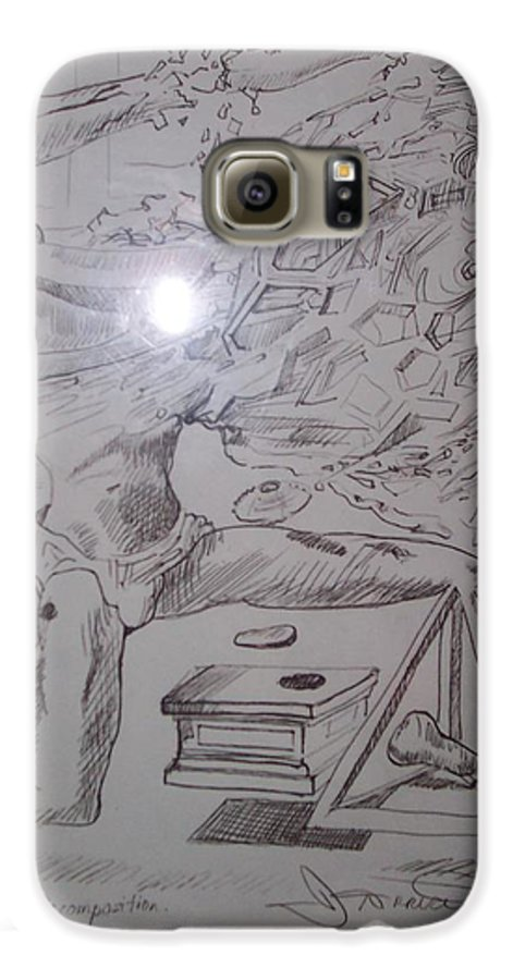 Galaxy S6 Case featuring the painting Decomposition Of Kneeling Man by Jude Darrien