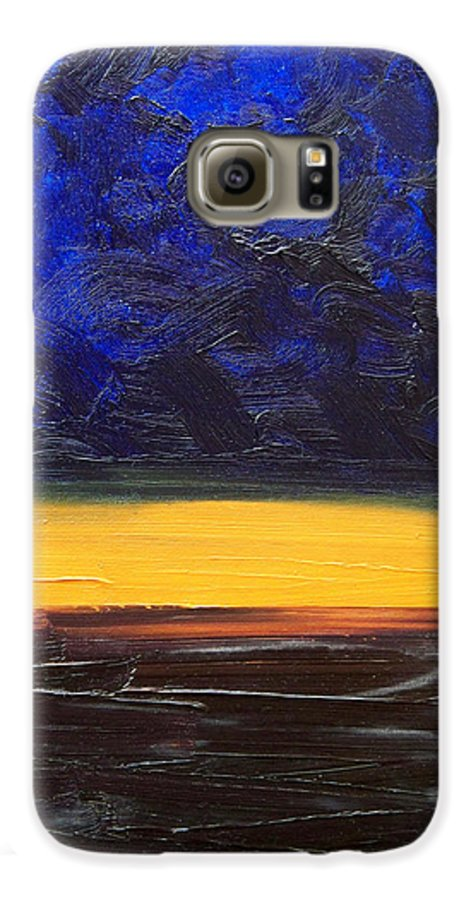 Landscape Galaxy S6 Case featuring the painting Desert Plains by Sergey Bezhinets
