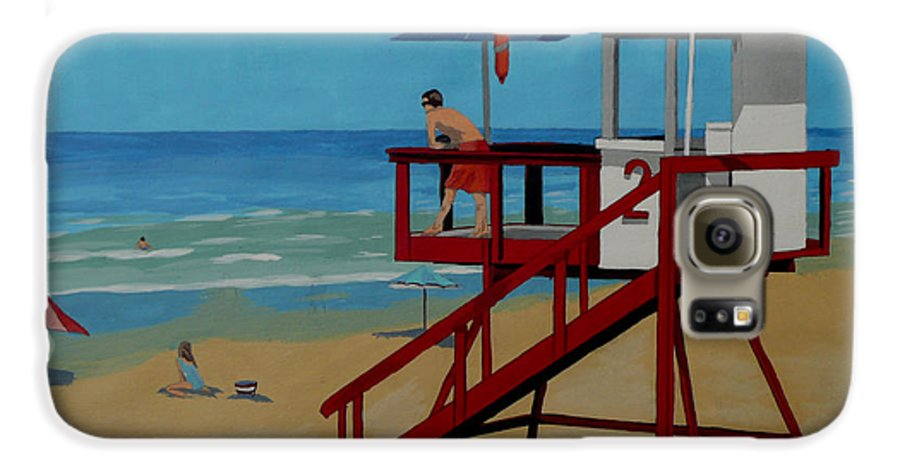 Lifeguard Galaxy S6 Case featuring the painting Distracted Lifeguard by Anthony Dunphy