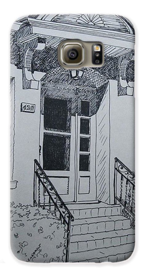 Pen And Ink Galaxy S6 Case featuring the drawing Doorway by Mary Ellen Mueller Legault