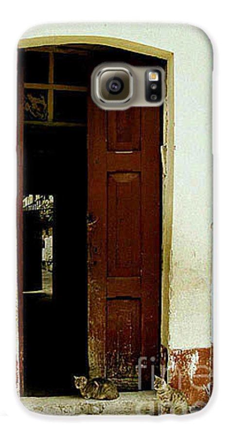 Cats Galaxy S6 Case featuring the photograph Dos Puertas Con Dos Gatos by Kathy McClure