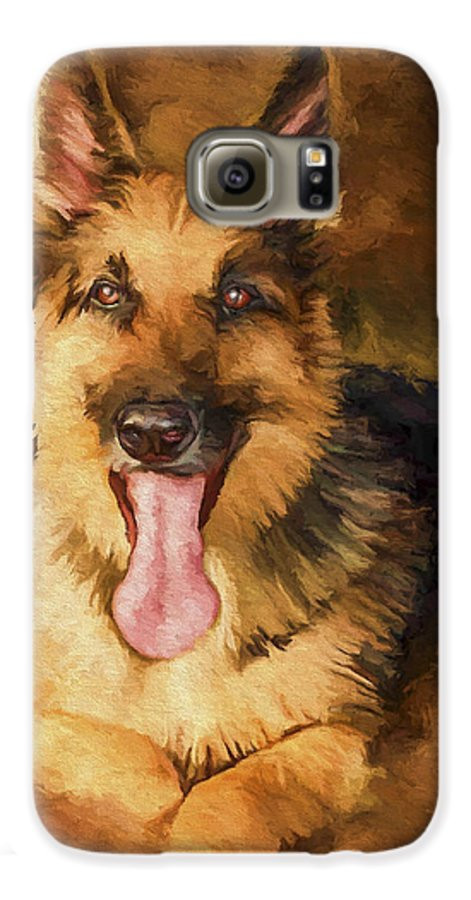 German Shepherd Galaxy S6 Case featuring the painting Duke by David Wagner