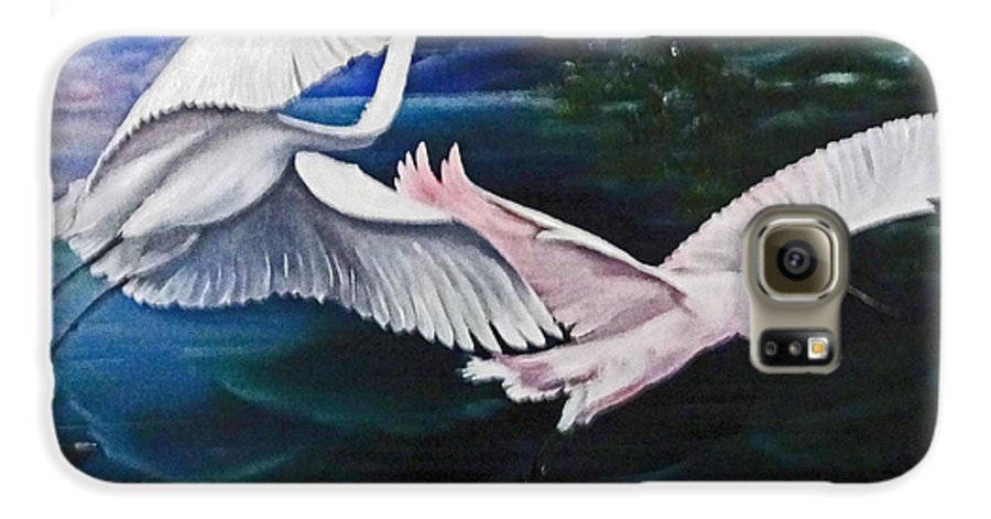 Snowy Egrets Galaxy S6 Case featuring the painting Early Flight by Karin Dawn Kelshall- Best