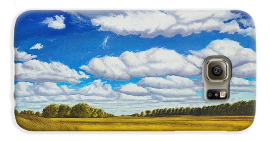 Wheat Galaxy S6 Case featuring the painting Early Summer Clouds by Leonard Heid