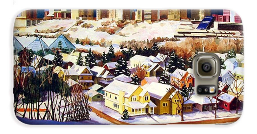Urbanscape Galaxy S6 Case featuring the painting Edmonton In Winter by Nel Kwiatkowska