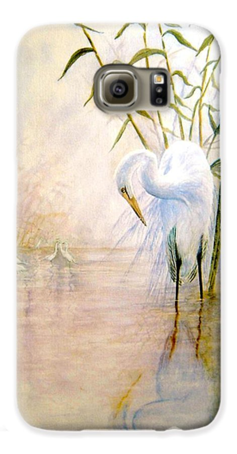 Eret; Bird; Low Country Galaxy S6 Case featuring the painting Egret by Ben Kiger