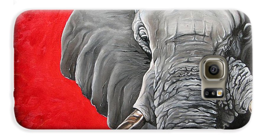 Wildlife Galaxy S6 Case featuring the painting Elephant by Ilse Kleyn