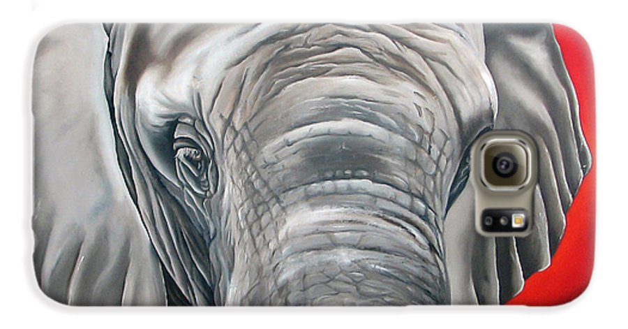 Elephant Galaxy S6 Case featuring the painting Elephant Six Of Eight by Ilse Kleyn