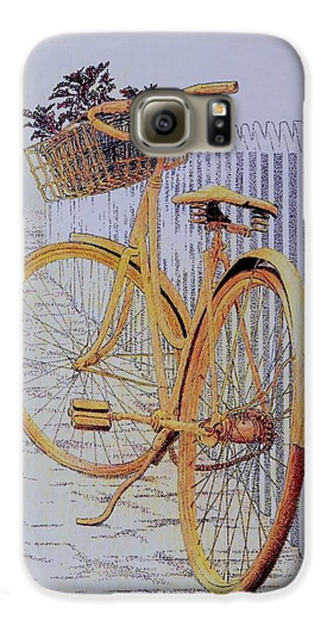 Bicycle Yellow Summer Flowers Plants Galaxy S6 Case featuring the painting Endless Summer by Tony Ruggiero