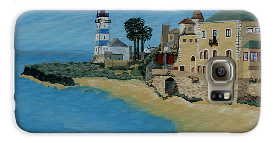 Lighthouse Galaxy S6 Case featuring the painting European Lighthouse by Anthony Dunphy