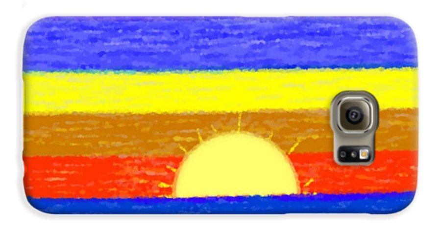 Evening.sky.stars.colors.violet.blue.orange.yellow.red.sea.sunset.sun.sunrays.reflrction. Ater. Galaxy S6 Case featuring the digital art Evening Colors by Dr Loifer Vladimir