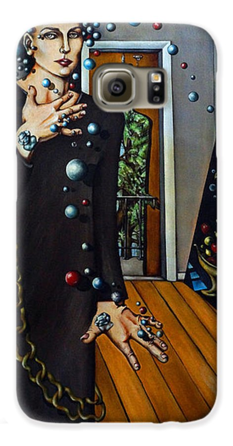 Surreal Galaxy S6 Case featuring the painting Existential Thought by Valerie Vescovi