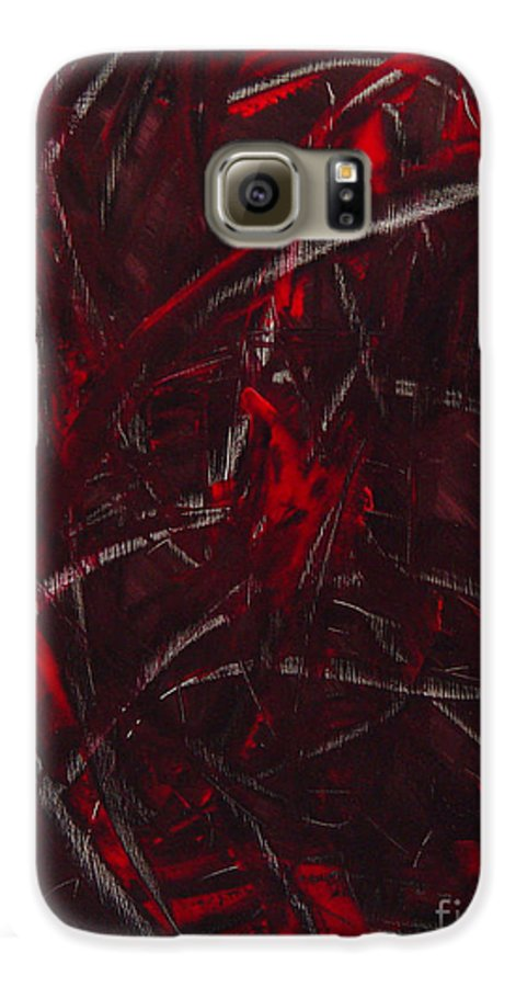 Abstract Galaxy S6 Case featuring the painting Expectations Red by Dean Triolo