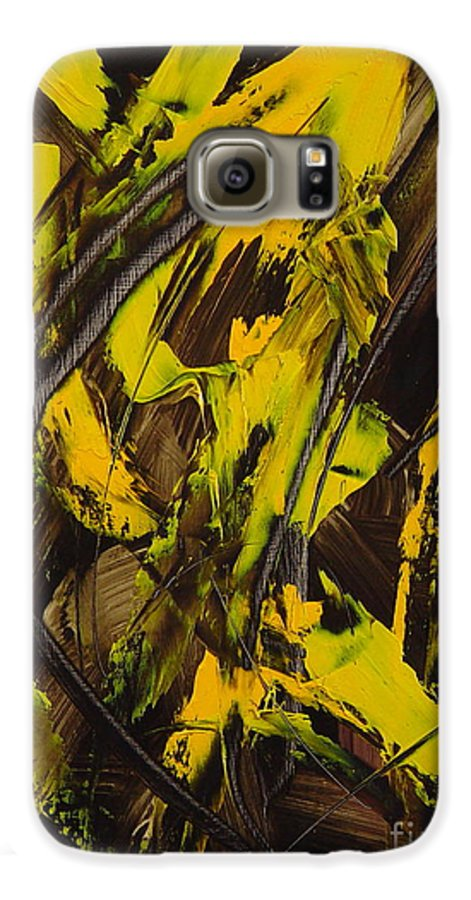 Abstract Galaxy S6 Case featuring the painting Expectations Yellow by Dean Triolo