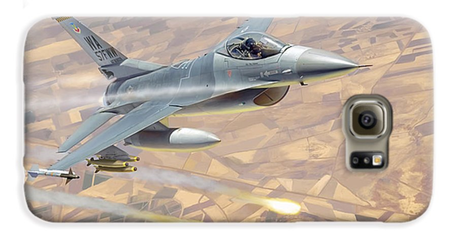 Aviation Galaxy S6 Case featuring the painting F-16 Fighting Falcon by Mark Karvon