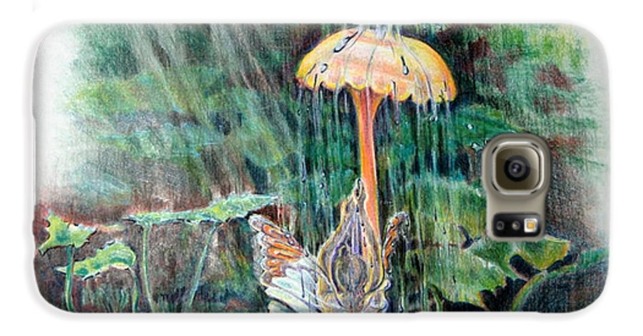 Fairy Galaxy S6 Case featuring the drawing Fairy Shower by Susan Moore