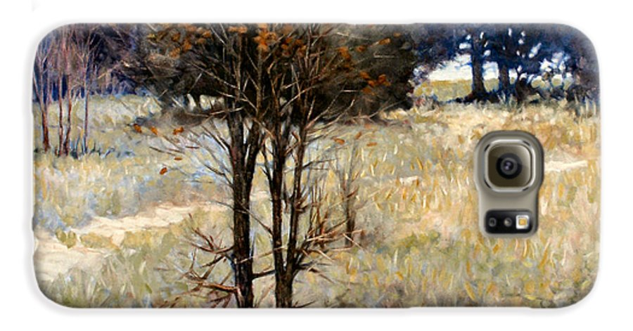 Landscape Galaxy S6 Case featuring the painting Feathery Field by Kevin Lawrence Leveque