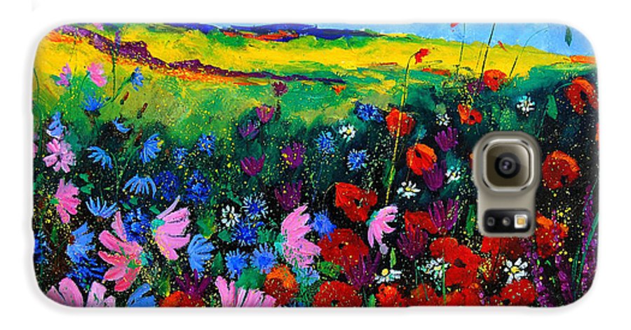 Poppies Galaxy S6 Case featuring the painting Field Flowers by Pol Ledent