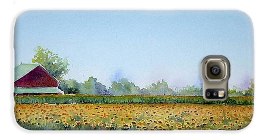 Landscape Galaxy S6 Case featuring the painting Field Of Sunshine by Patricia Henderson